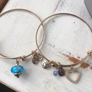 Gold bangle charm bracelet bundle heart bangle